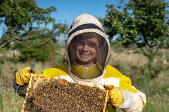 Beekeeper Oden Boulter started his own business after doing a school-based traineeship.