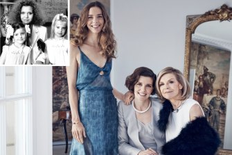 Carla Zampatti with her daughters Bianca and Allegra Spender