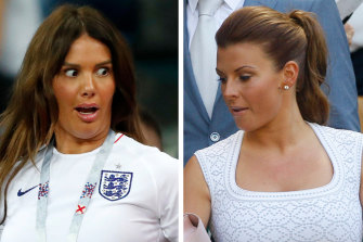 Rebekah Vardy, wife of England's forward Jamie Vardy, left, and wife of soccer player Wayne Rooney, Coleen Rooney. Photo: AP