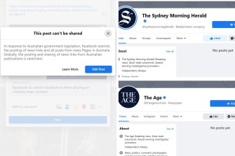 Facebook media pages such as The Sydney Morning Herald's and The Age's have been blocked from posting and news links can no longer be shared on the platform.
