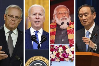 The leaders of the Quad - Australia, the US, India and Japan - Scott Morrison, Joe Biden, Narendra Modi and Yoshihide Suga.