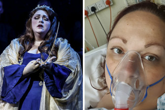 Australian opera singer Helena Dix, performing in Norma for Melbourne Opera last year (left), and in a British hospital (right) after developing a large blood clot in her lungs.