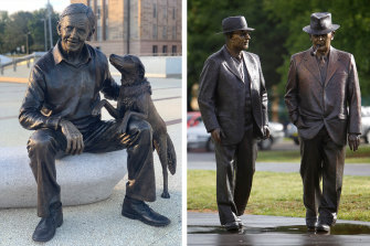 A new statue of Sir John Gorton with his dog has joined other statues in the parliamentary triangle, including one ofJohn Curtin and Ben Chifley.