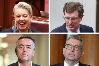 Bridget McKenzie and Andrew Gee (top ) were winners from the reshuffle, while Darren Chester and Keith Pitt were dumped from cabinet.