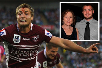 Kieran Foran during his stint with Manly and (inset) with late Sea Eagles fan Brenda Duchen.