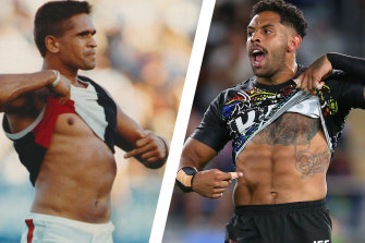 Nicky Winmar in 1993 and Josh Addo-Carr in 2020.