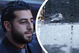 Bilal Hamze and a bullet hole near where he was killed.