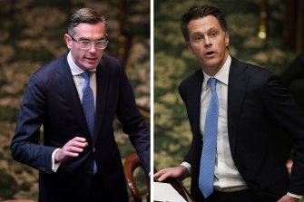 NSW Treasurer Dominic Perrottet and Labor leader Chris Minns face off during question time.