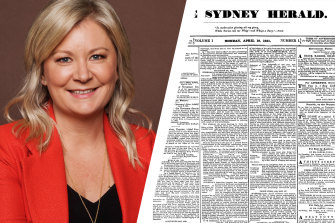 Herald editor Lisa Davies and the original Sydney Morning Herald front page of April 18, 1831.