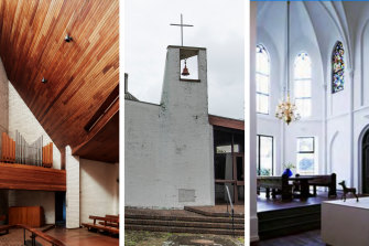 The interior and exterior of the church and, right, impressions of the new owner's open-plan living space.