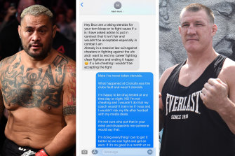 The explosive text exchange between Mark Hunt and Paul Gallen.