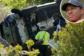 Tiger Woods and the scene of his rollover car crash in Los Angeles.