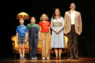 Gilbert Bradman, Mia Honeysett, Jensen Mazza, Marina Prior and Adam Murphy on the opening night of Sydney Theatre Company's Fun Home.