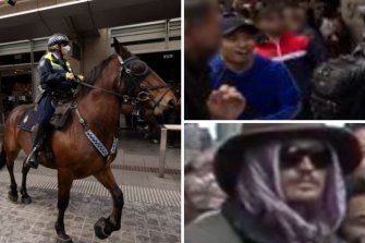 Police are seeking to identify four men following last Saturday's anti-lockdown rally.