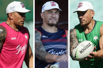 Tricolours: Sonny Bill Williams at Roosters training.