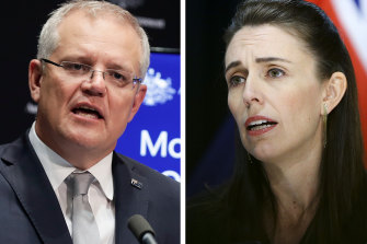 Australian PM Scott Morrison and New Zealand PM Jacinda Ardern.