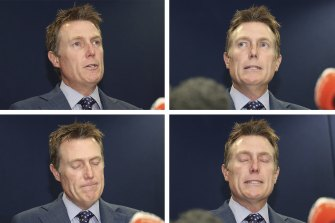 Attorney-General Christian Porter speaking at a press conference in Perth on Wednesday.