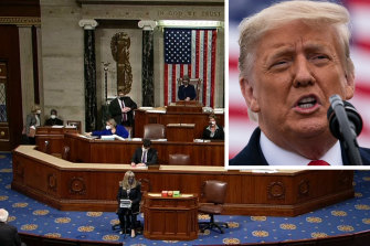 The US House of Representatives during the speeches prior to the vote to impeach President Donald Trump, inset.