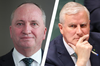 Nationals leader Barnaby Joyce and his predecessor Michael McCormack.