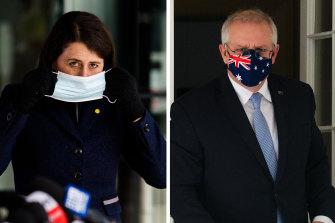 Gladys Berejiklian and Scott Morrison, both in Sydney on Friday.