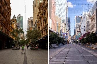 Left: Pitt street mall in CBD in Sydney in April. Right: Melbourne CBD in July.