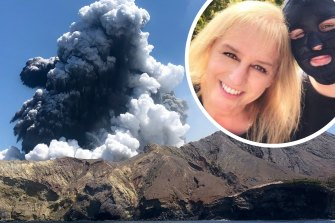 Stephanie Browitt and Marie Browitt after the volcano eruption.
