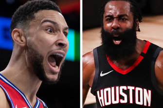 Any move from Philadelphia for former NBA MVP Harden, right, was likely to result in Ben Simmons being traded.
