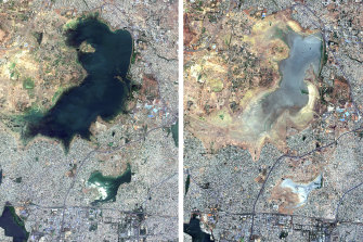 Satellite images a year apart (June 2018 - June 2019) shows Puzhal reservoir in Chennai, India before and during the drought.