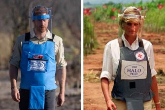 Prince Harry walks through a minefield in Dirico in Angola. Right: Princess Diana in 1997.