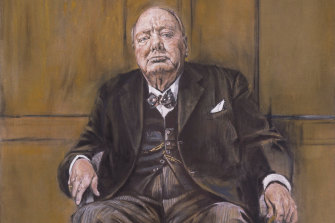 Detail of Graham Sutherland's portrait of Winston Churchill, which was destroyed on the orders of Churchill's wife.