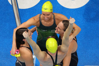 Emma McKeon, Bronte Campbell, Meg Harris and Cate Campbell celebrate after winning gold in the women's 4x100m freestyle relay.