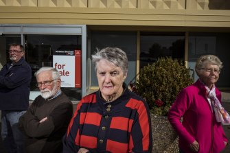 Mortlake residents Doug Parker, Kelvin Goodall, Jill Parker and Rosalie Goddard are upset at the closure of their only bank leaving them with an over 40-kilometre journey to the nearest town with an ATM.