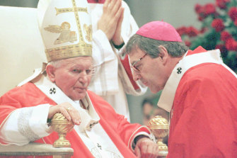 Then Melbourne archbishop George Pell with Pope John Paul II in 1997.