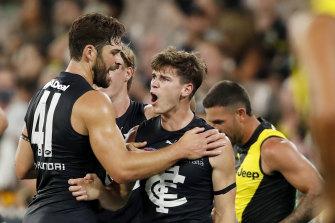 Carlton's Paddy Dow celebrates his goal.