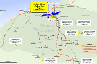 De Grey Mining's Mallina project is located in the Pilbara south of Port Hedland.