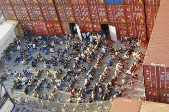 Asylum seekers on board the Tampa.