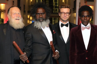 Jack Thompson, Witiyana Marika, Simon Baker and Jacob Junior Nayinggul at the High Ground premiere during the 70th Berlinale International Film Festival Berlin on February 23.
