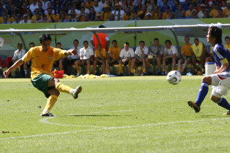 Tim Cahill shoots his 2nd goal   during to put Australia into 3-1 lead over Japan at the 2006 Cup in Germany.