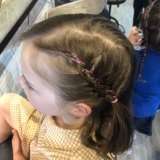 Some of the author's handiwork after his 'Dads and Daughters' hair styling session. Nice.