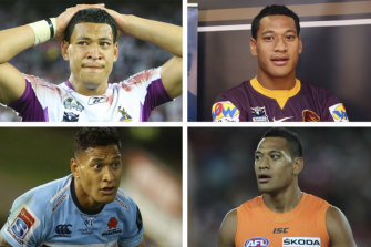 Laughing all the way to the bank: Israel Folau's code-hopping has proved lucrative for the 30-year-old.