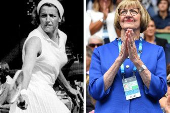 Margaret Court in 1969, left, and in recent times.