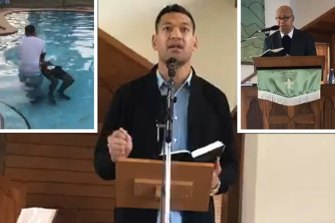 Main: Israel Folau giving a sermon. Left: A baptism taking place at Eni Folau's mansion in Kenthurst. Right: Eni Folau, Israel Folau's father.