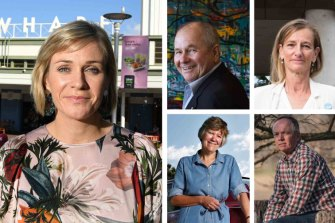 Clockwise from left: Zali Steggall and key supporters Neil Balnaves, Anna Josephson, Robe Purves and Sally Perini.