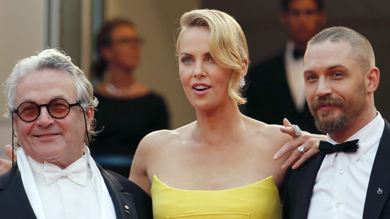 Director George Miller and stars Charlize Theron and Tom Hardy at the Cannes Film Festival in 2015.
