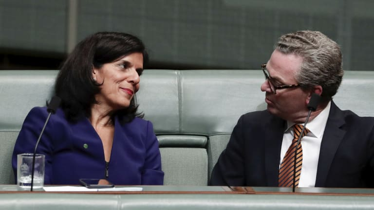 The new crossbench MP talks with Defence Minister Christopher Pyne in the chamber on Tuesday.