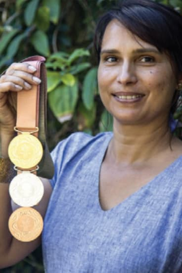Stradbroke Island artist Delvene Cockatoo-Collins, who designed the medals.