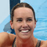 A jubilant Emma McKeon after winning the women's 100m freestyle final.