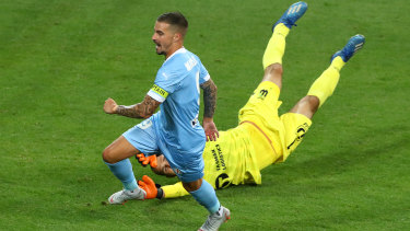 MELBOURNE, AUSTRALIA - JANUARY 16: Jamie MacLaren of Melbourne City celebrates after scoring a goal during the A-League match between Melbourne City FC and Western United FC at AAMI Park, on January 16, 2021, in Melbourne, Australia. (Photo by Robert Cianflone/Getty Images)