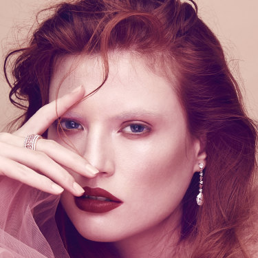 """""""Fly to virtually any city on earth, and within an hour you can buy a one-carat white diamond. You could never do that with a pink,"""" notes one jeweller. Model wears pink and white diamond rings and earrings designed by local jewellers Cerrone."""