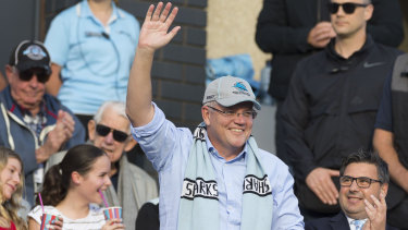 Scott Morrison at the footy.
